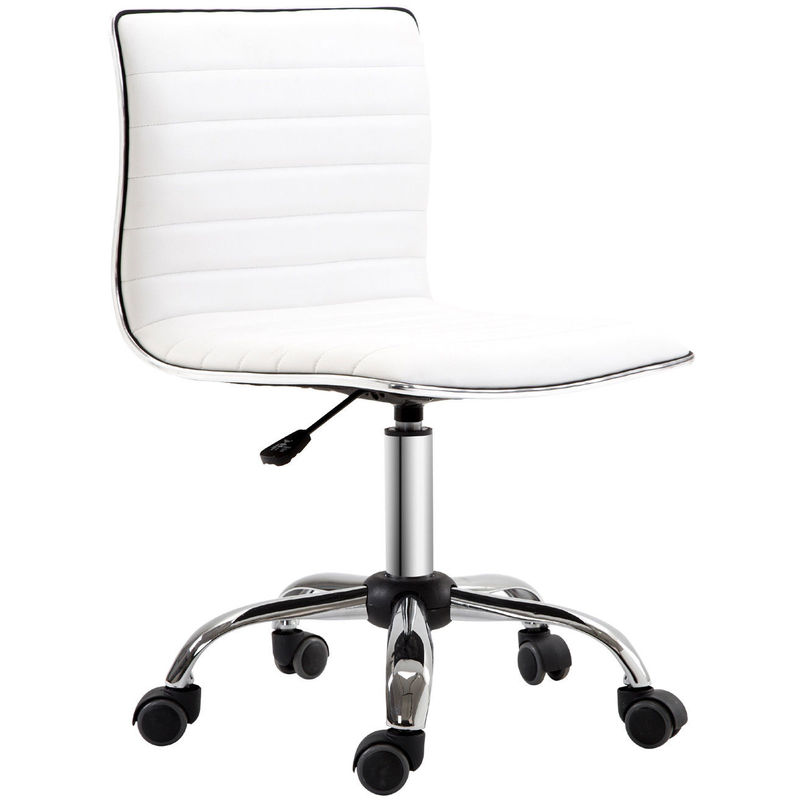 Homcom Adjule Swivel Office Chair With Armless Mid Back In Pu Leather And Chrome Base White