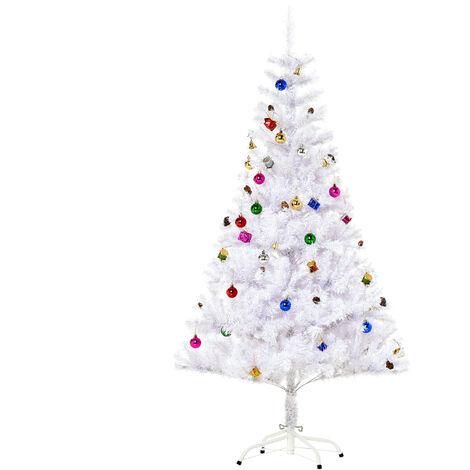 Albero Di Natale Bianco.Homcom Albero Di Natale In Pvc 150 Cm Con Supporto Bianco