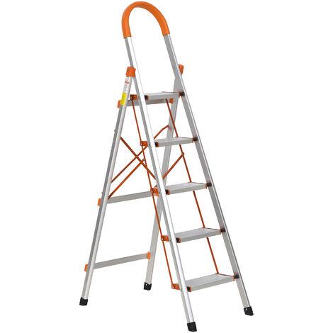 HOMCOM Aluminium Classic Herringbone Ladder DIY Steps Folding Platform Orange
