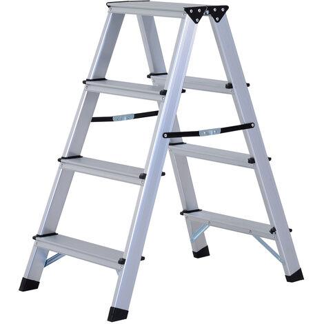 HOMCOM Aluminium Double Sided Step Ladder Folding A-type Household Stepper (4 Steps)