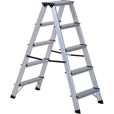 HOMCOM Aluminium Double Sided Step Ladder Folding A-type Household Stepper (5 Steps)