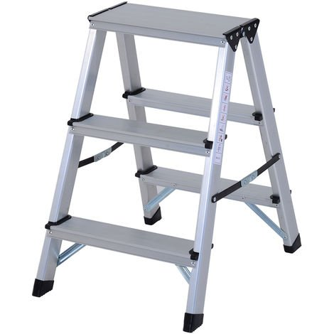 Homcom Aluminium Double Sided Step Ladder Folding A-type Household Stepper