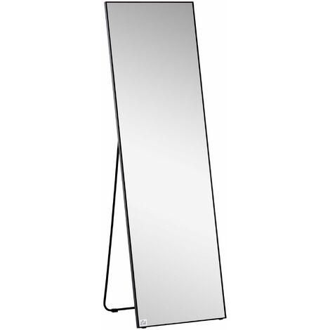 HOMCOM Aluminium Frame Full Length Longline Dressing Mirror Floor/Wall Black
