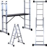 HOMCOM Aluminium Scaffolding Ladder Multi Combination Multi-purpose Step Scaffold Platform
