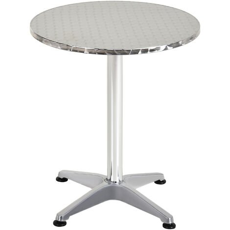 Homcom Aluminum Bistro Bar Table Round Adjustable Height 70-110cm