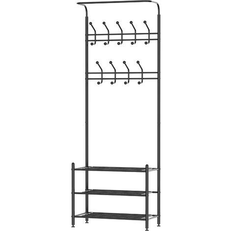 Homcom Appendiabiti Panchina per Ingresso con Scarpiera in Acciaio, Nero, 67x30x185cm