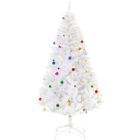 HOMCOM Árbol de Navidad 120/150/180/210cm Incluye Decoración Artificial Verde y Blanco