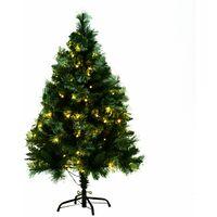 HOMCOM Árbol de Navidad 120cm Artificial Árbol con Soporte 100 Luces LED con Color Blanca Cálida 288 Ramas Color Blanca Cálida Material PVC