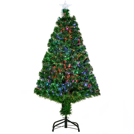 HOMCOM Árbol de Navidad 120cm Artificial Árbol de Pino con 16 LED de 3 Colores 130