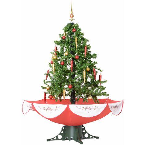 HOMCOM Árbol de Navidad 140cm Artificial Árbol con 25 Canciones LED Escena de Nieve