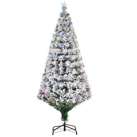 HOMCOM Arbol de Navidad 180cm Luces LED Arbol Artificial Nevado Hoja Verde Estrella