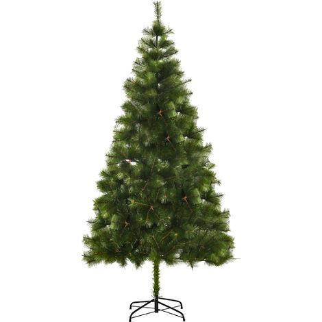 HOMCOM Árbol de Navidad 210cm Artificial Árbol de Pino con Soporte 505 Ramas Verde PET