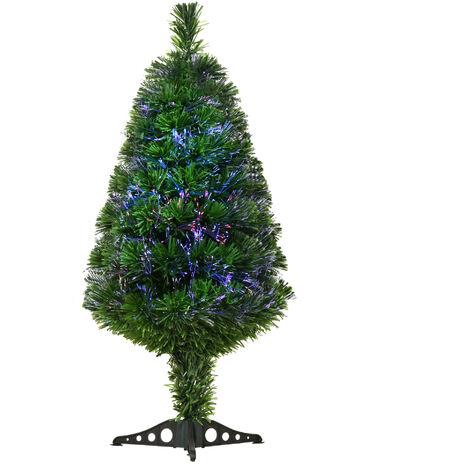 HOMCOM Árbol de Navidad 90cm Artificial Árbol con Soporte Fibra Óptica Verde Natural