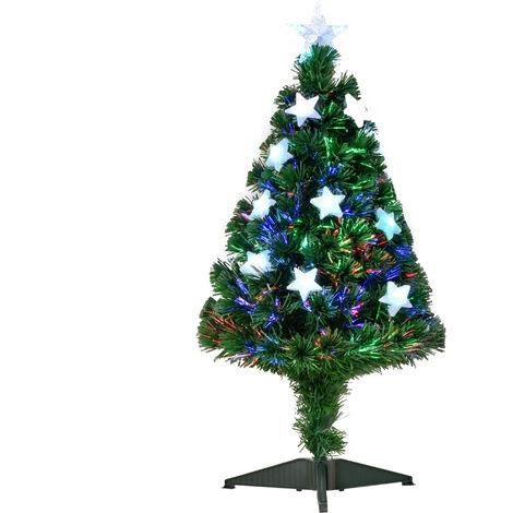 HOMCOM Árbol de Navidad 90cm Artificial Árbol de Pino con 12 LED de 3 Colores 90 Ramas