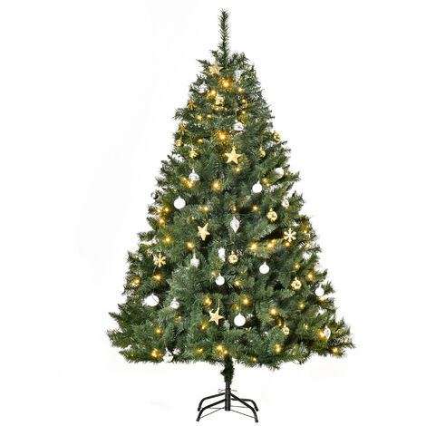 HOMCOM Árbol de Navidad Artificial Árbol 180cm con Soporte Luces LED Adornos Verde PVC