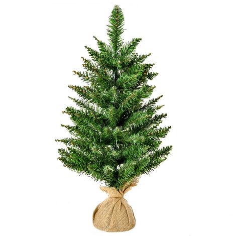 HOMCOM Árbol de Navidad Artificial Pequeño 60 cm 70 Ramas Base Tela Arbol de Navidad