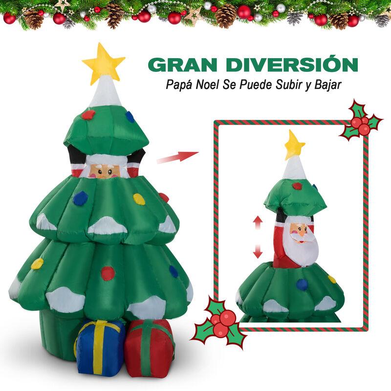 ea36e28da8c HOMCOM Árbol de Navidad con Papa Noel Hinchable Decoración Navideña Iluminación  LED Navidad Exterior Interior Jardín 80x70x130-160cm