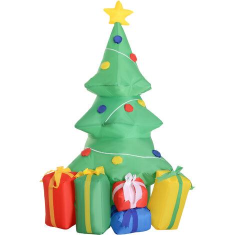 17ceed8385f HOMCOM Árbol de Navidad Inflable 1.5m Árbol Decorativo Navideño con Adornos  Regalos Iluminado LED Decoración ...