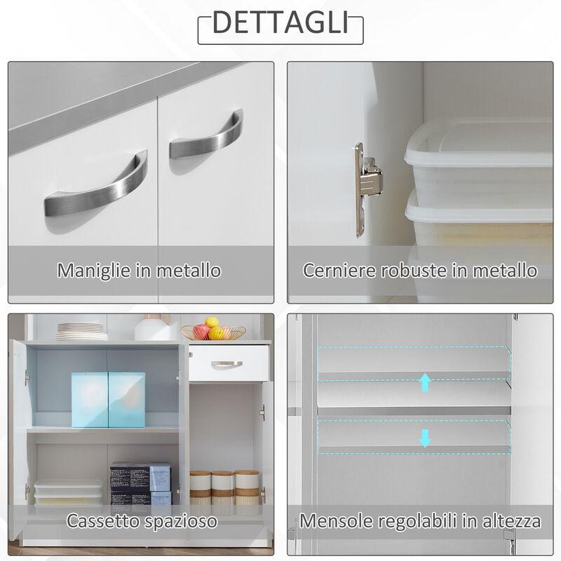 HomCom Armadio con Pensili da Cucina in Legno, Bianco, 101x39x180cm