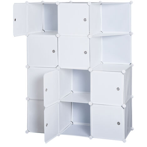 "main image of ""Homcom Armadio Guardaroba Modulare 10 Cubi, Bianco, 111x47x145cm"""