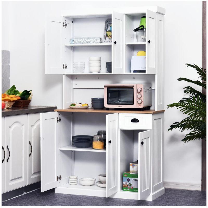 HOMCOM Armario Alacena Buffet Aparador de Cocina Mueble Auxiliar  Organizador con 7 Estantes y un Cajón Extraíble 4 Puertas con E