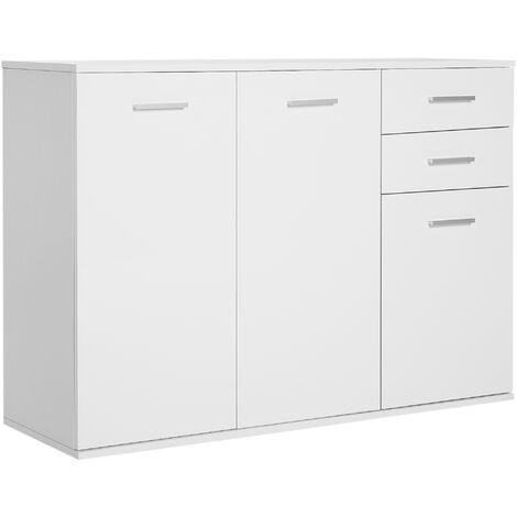 HOMCOM Armario Gabinete Consola Aparador Buffet Mueble Organizador 3 Puertas 2 Cajones
