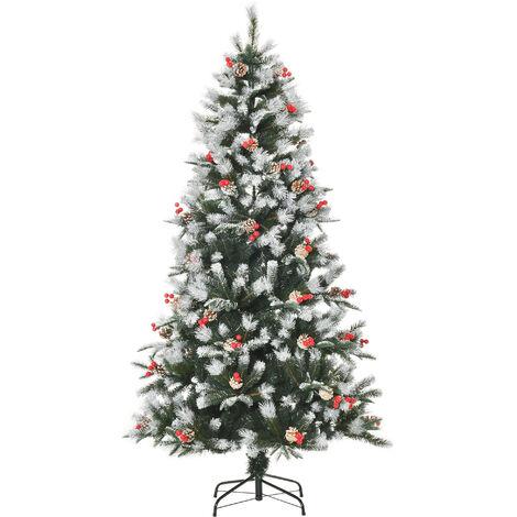 """main image of """"HOMCOM Artificial Snow Dipped Berry & Pinecone Christmas Tree Xmas Décor 6ft"""""""