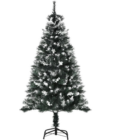"main image of ""HOMCOM Artificial Snow-Dipped White Berry Christmas Tree Xmas Indoor 5ft"""