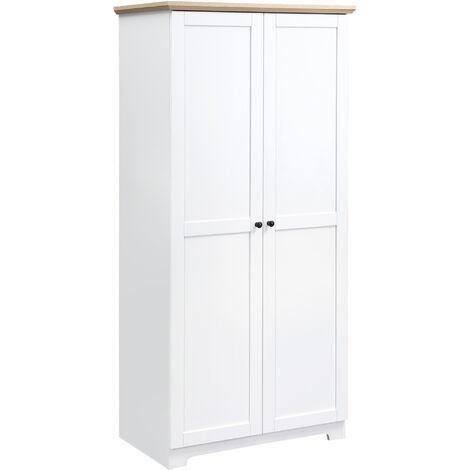 HOMCOM® Aufbewahrungsschrank Mehrzweckschrank Wäscheschrank 4 Fächer 2 Türen Holz Weiß 80 x 48 x 172 cm - weiß
