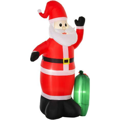 HOMCOM® aufblasbarer Weihnachtsmann mit Geschenksack LED Rot