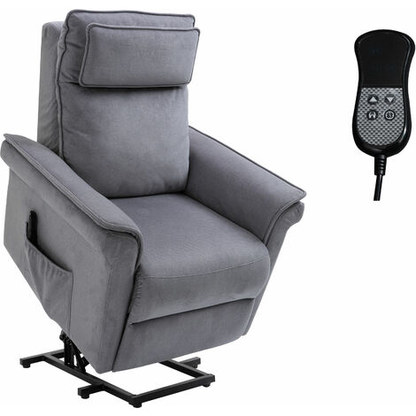 HOMCOM® Aufstehsessel mit Aufstehhilfe Fernsehsessel Liegefunktion Leinen-Touch Grau - grau