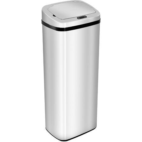 HOMCOM® Automatischer Mülleimer Abfalleimer Automatisch Kücheneimer Bewegungssensor Edelstahl mit Sensor Silber 50 L 33 x 25 x 84 cm - silber