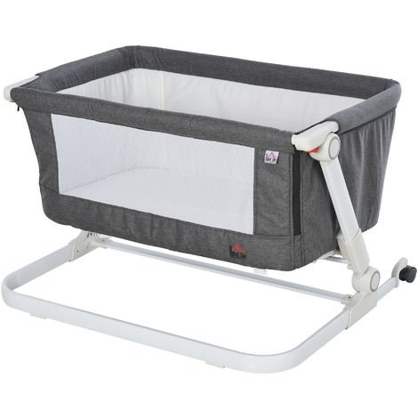 HOMCOM Baby Bassinet Foldable Adjustable 0-5 months Artificial Cotton Breathable