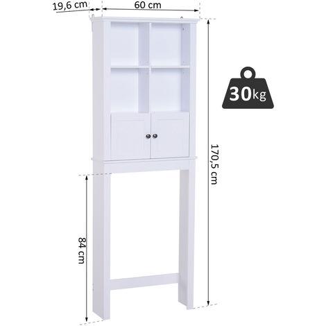 HOMCOM® Badschrank Hochschrank Badmöbel Wandschrank Mehrzweckschrank 6 x Fach Holz Weiß 60 x 19,6 x 170,5 cm
