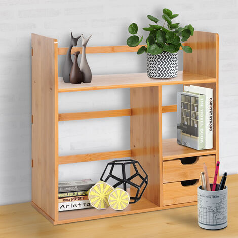 HOMCOM Bamboo Desk Bookshelf Stationery Storage Shelf with 2 Drawers 2-way Reversed Use