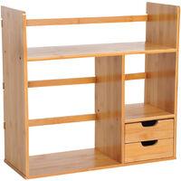 HOMCOM Bamboo Desk Bookshelf Stationery Storage Shelf with 2 Drawers 2-way Reversed Use