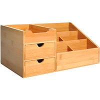 HOMCOM Bamboo Desktop Organiser Holder Multi-Function Storage Caddy Drawers Natural Wood