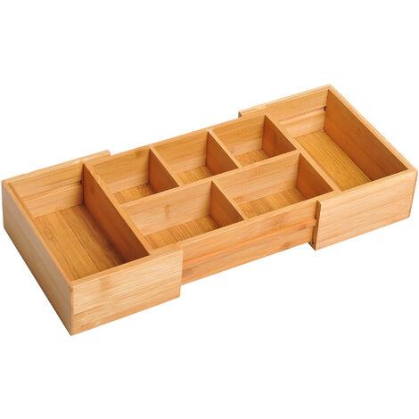 HOMCOM Bamboo Expandable Cutlery Tray Organiser Drawer Kitchen Holder