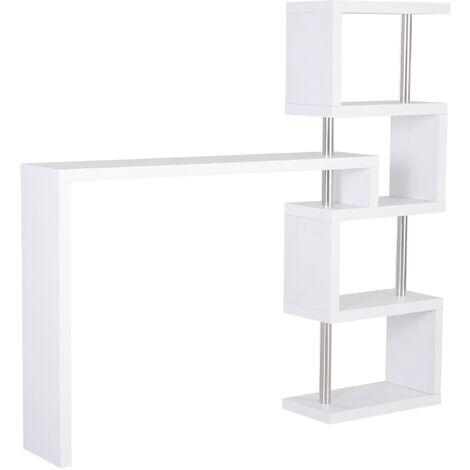 HOMCOM® Bartisch Stehtisch Bartheke Tresentisch mit 4 Ablagefläche Multi-Winkel Weiß - weiß