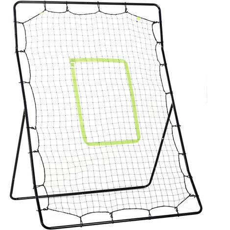 HOMCOM Baseball Rebounder Net Adjustable Kids Adults Training Pitching Strike Black