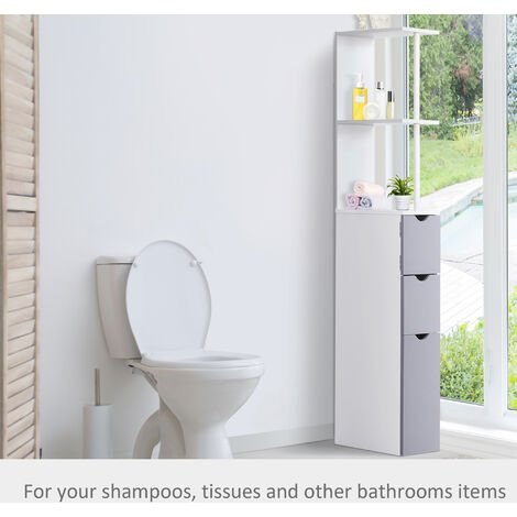 Homcom Bathroom Cabinet Tall Shelf Toilet Tissue Cupboard w/ Drawers