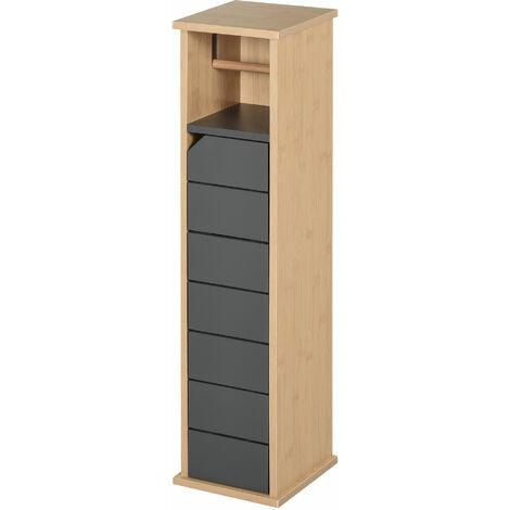 HOMCOM Bathroom Toilet Paper Storage Cabinet w/ Shelves Door Freestanding Compact