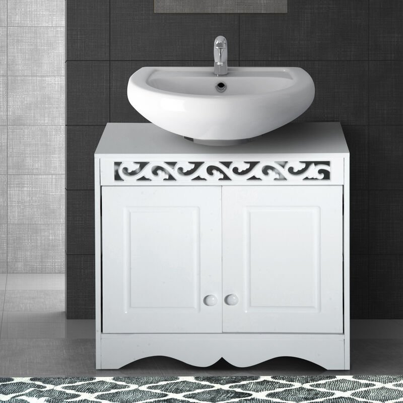 Fantastic Homcom Bathroom Under Sink Storage Cabinet 2 Door Wooden Cupboard Vanity Units Home Interior And Landscaping Mentranervesignezvosmurscom