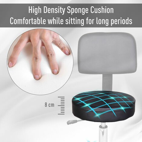 Homcom Beauty Salon Spa Chair Stool Swivel Gas Lift Manicure Stools Chair - Black