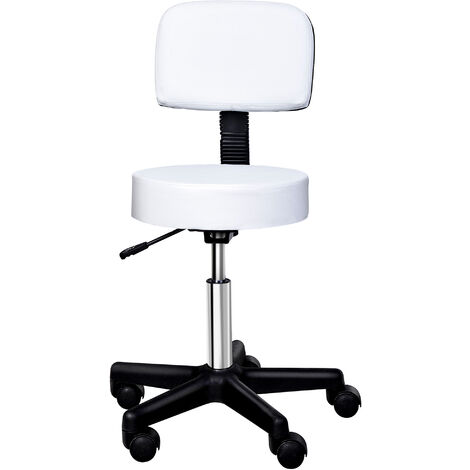 Homcom Beauty Salon Spa Chair Stool Swivel Gas Lift Manicure Stools Chair - White