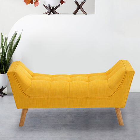 HOMCOM Bed End Side Chaise Lounge Sofa Window Seat Arm Bench Wooden Leg Yellow