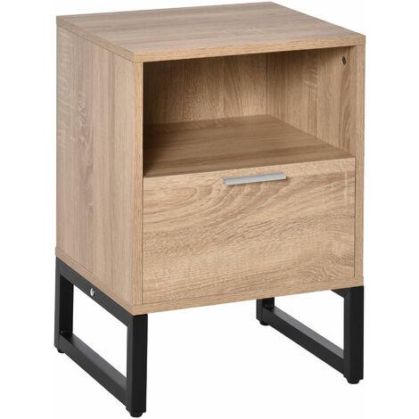 "main image of ""HOMCOM Bedside Table w/ Drawer Shelf Bedroom End Table Nightstand Furniture"""