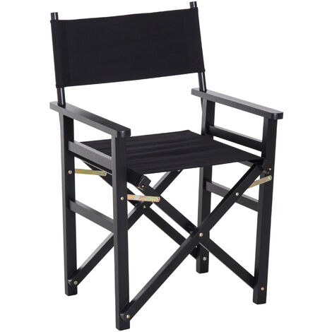 HOMCOM Beech Wooden Frame Folding Directors Chair Space Saving Oxford Fabric Seat Black