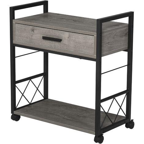 HOMCOM® Beistelltisch Servierwagen mit Schublade Ablage Küchenwagen Sideboard Grau