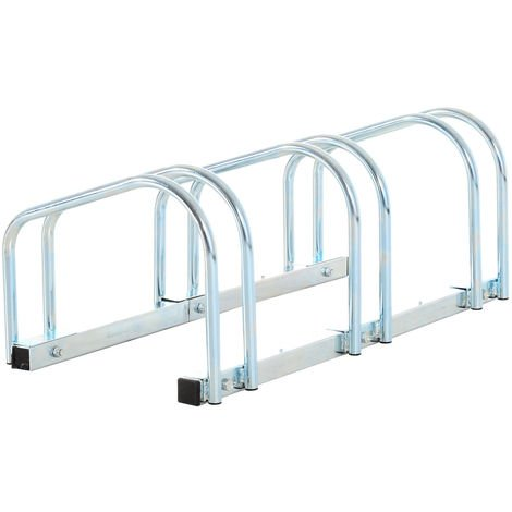 Homcom Bike Floor Parking Stand – Silver